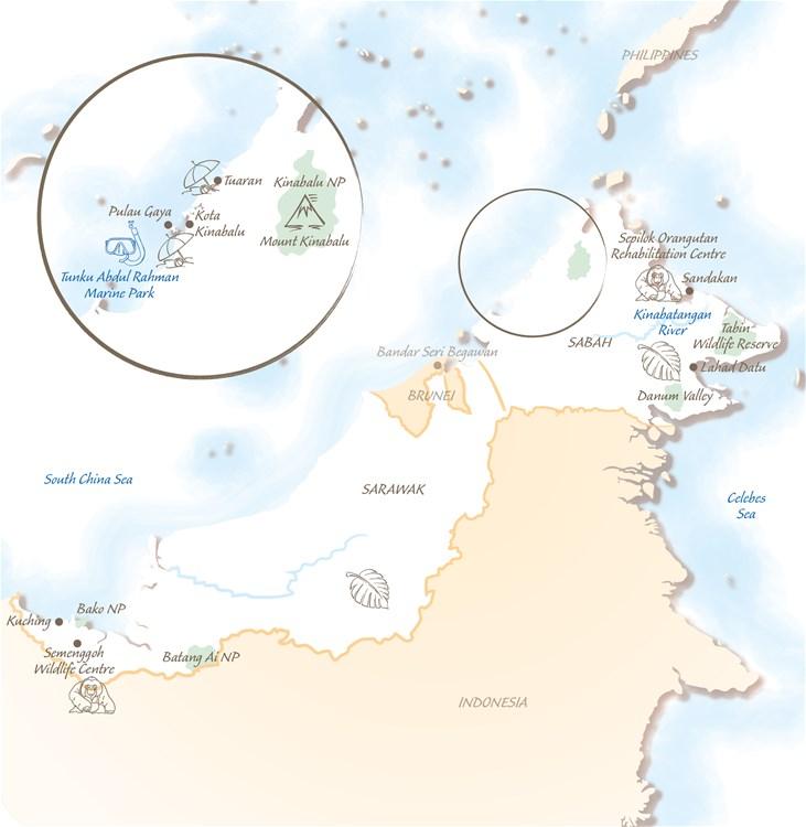 Borneo Holiday Highlights Map
