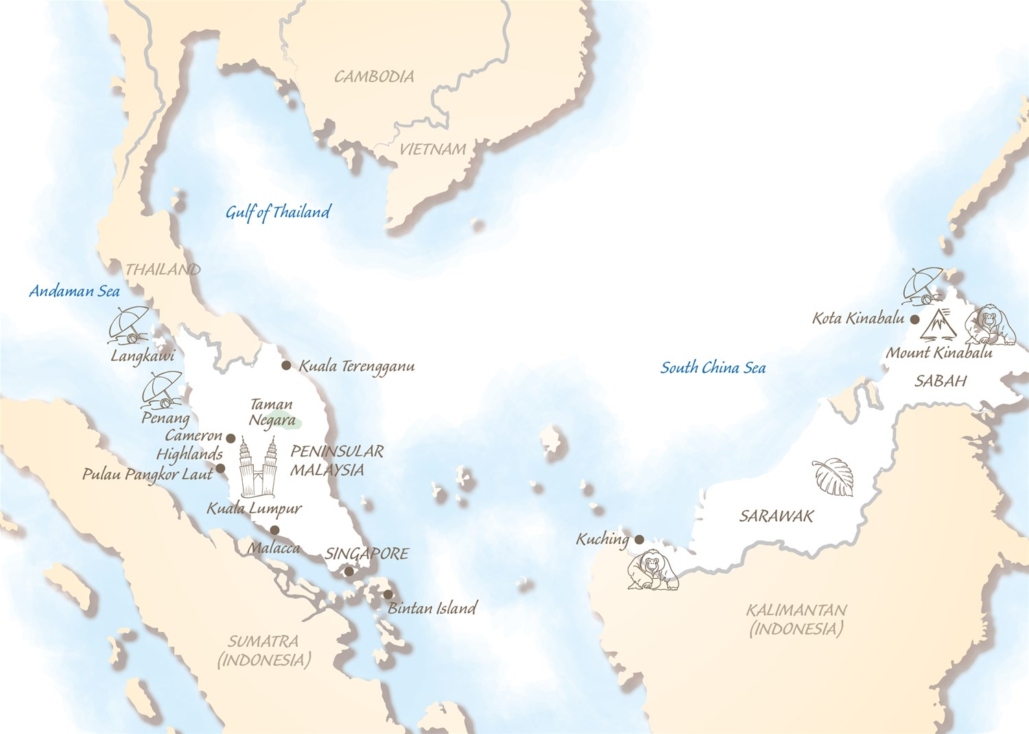 Malaysia holidays trailfinders south east asia malaysia map gumiabroncs Images