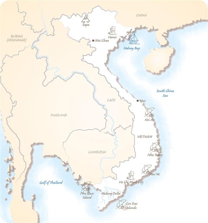 Vietnam Holiday Highlights Map