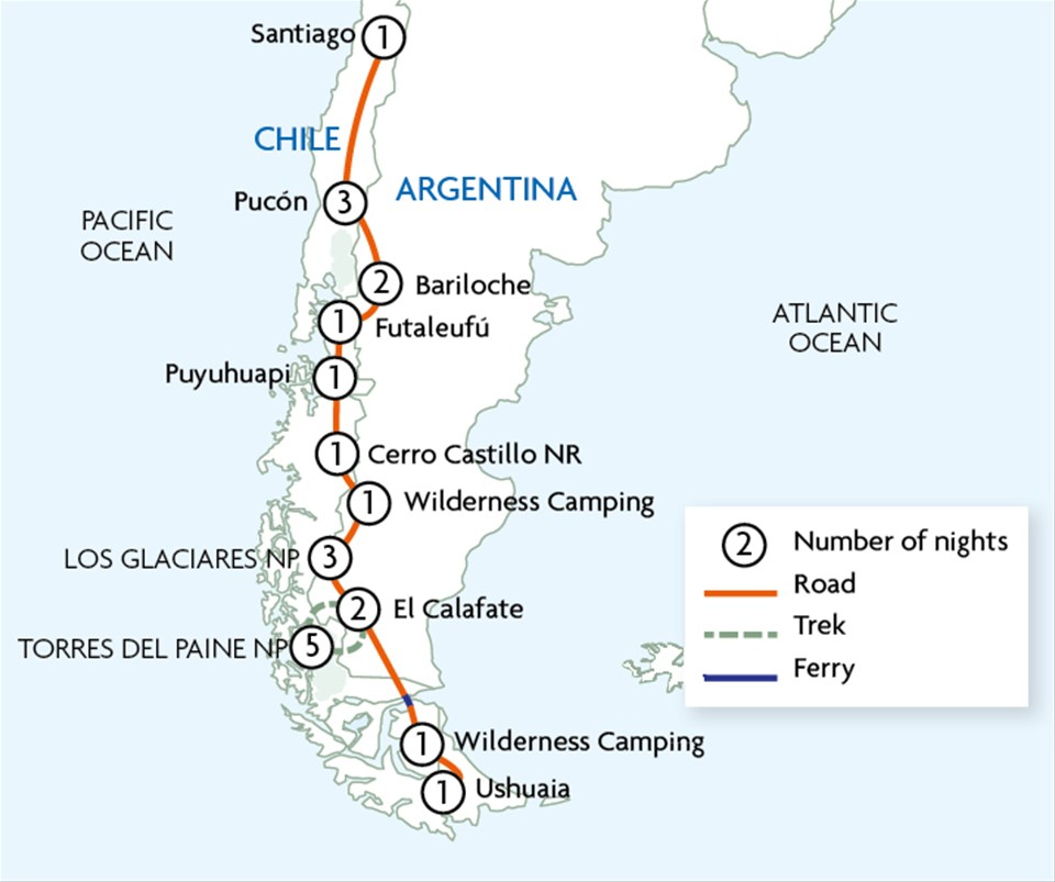 Patagonia & Andes between Santiago & Ushuaia