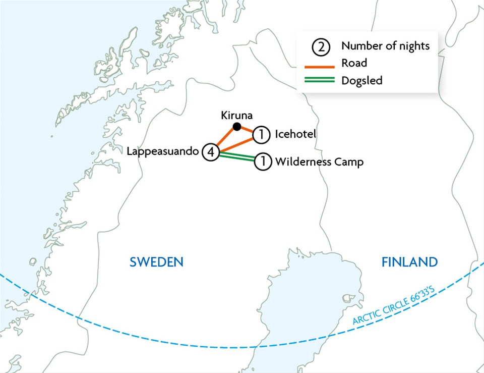 Arctic Sweden The Icehotel Touring With Trailfinders - Sweden map arctic circle
