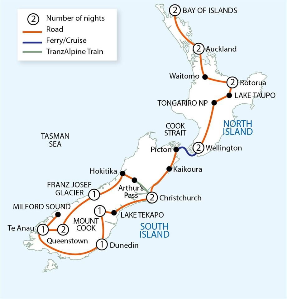 Road Map North Island New Zealand.New Zealand Wonderland Tour Trailfinders