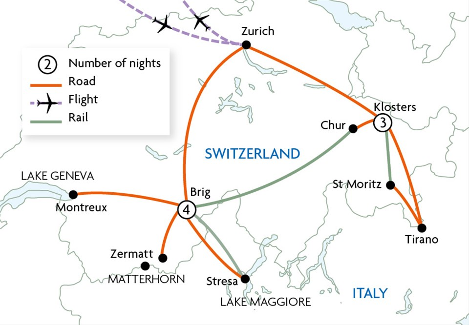 Switzerland, The Matterhorn & Glacier Express