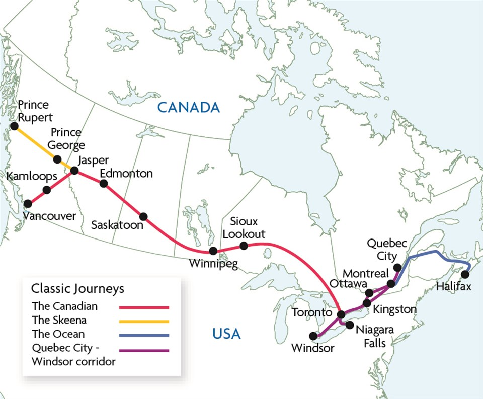 Map Of Canada Via Rail.Canada By Rail Trailfinders Trailfinders The Travel Experts