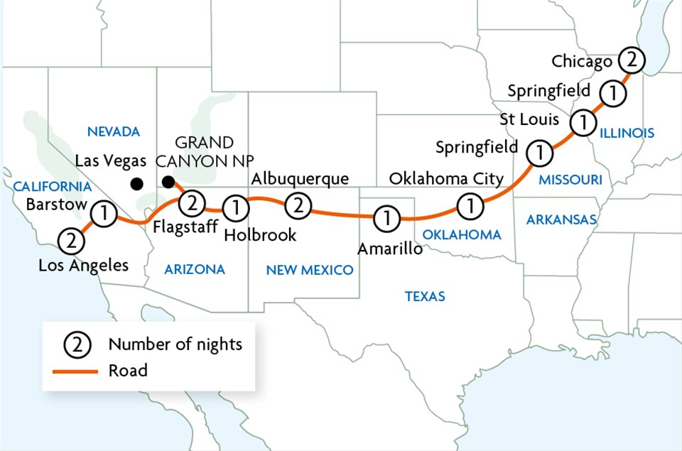 Route 66 Usa Map.Route 66 The Mother Road Tour Trailfinders
