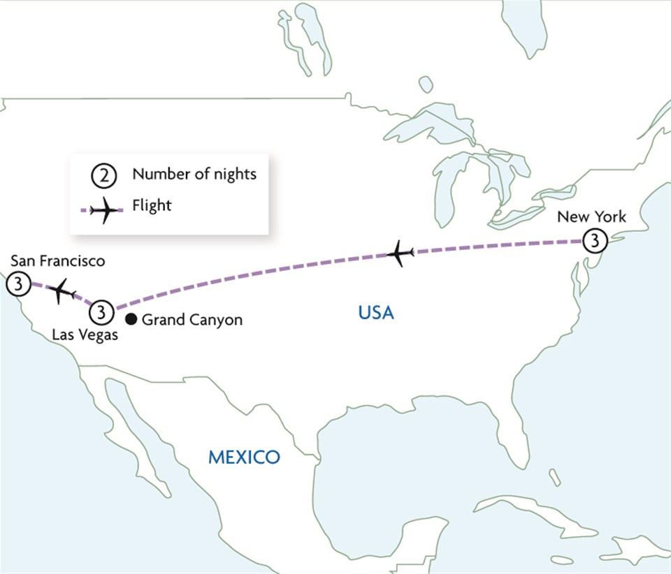 New York, Las Vegas & San Francisco
