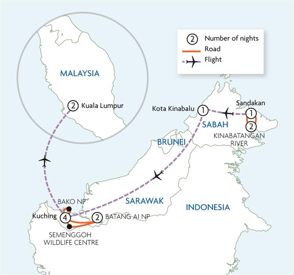 Highlights of Borneo & Kuala Lumpur