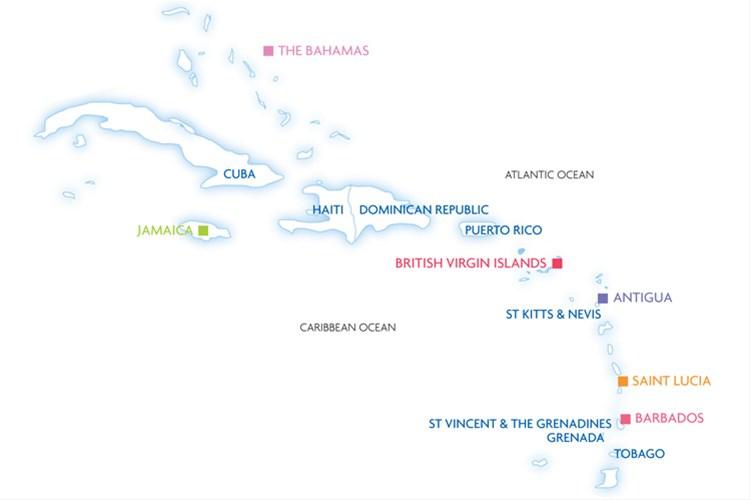 Caribbean Holiday Highlights map