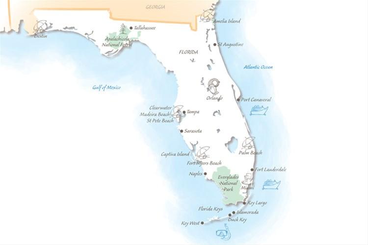 Florida holiday highlights map