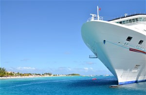 Cruise ship docked in the Caribbean